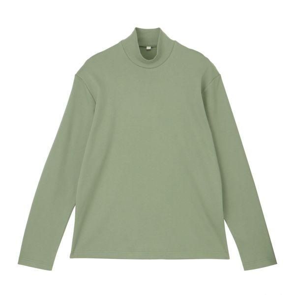 長袖スムース起毛ハイネックTシャツ